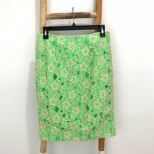 Lily Pulitzer Green Pink Floral Lace Pencil Skirt
